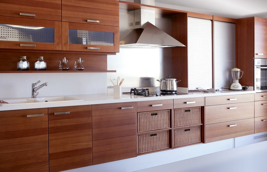 red wood kitchen white kitchen bench modern interior decoration